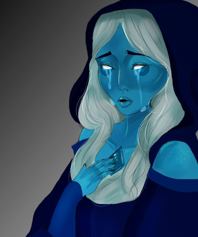my world history teacher is obsessed with Steven Universe, so I drew Blue Diamond for her while the class watched Bridge of Spies lol