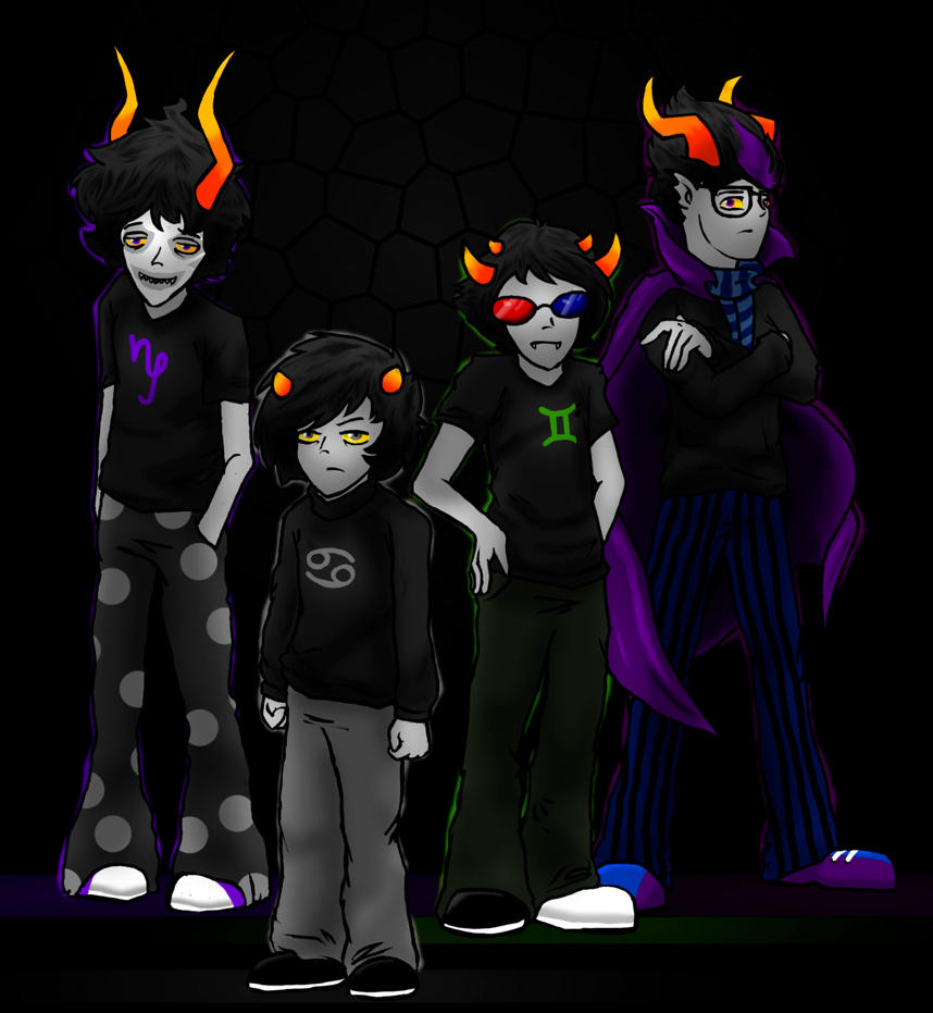 Homestuck Gamzee  Karkat  Sollux  Eridan  by EmmendalKarkat And Gamzee And Sollux