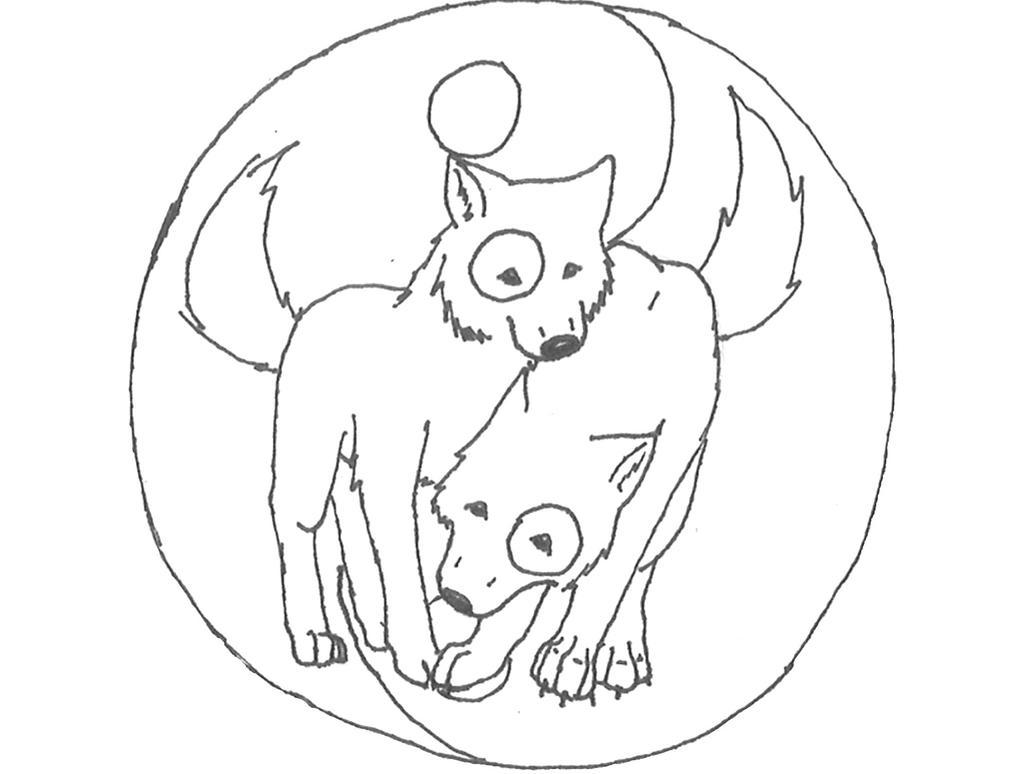 yin yang wolves line art by fennec fox13 on deviantart