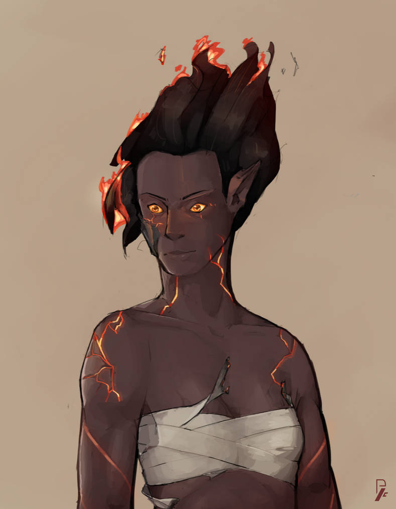 Ira the Fire Genasi Barbarian. by Pitool