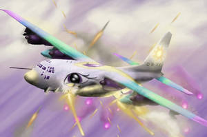 Princess Celestia in an AC-130 by TatterTailArt