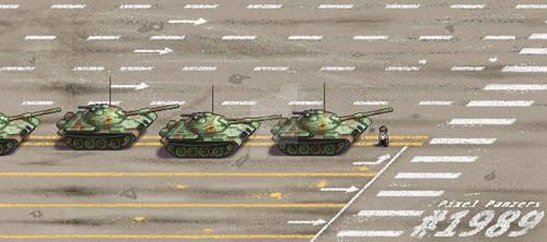 1989 Tiananmen Square Tankman Pixel Art Piece