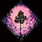 Tree in  Pink 20x20