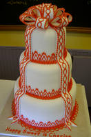 Red and White wedding cake by The-EvIl-Plankton