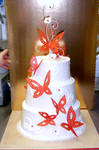Red Butterfly Wedding Cake