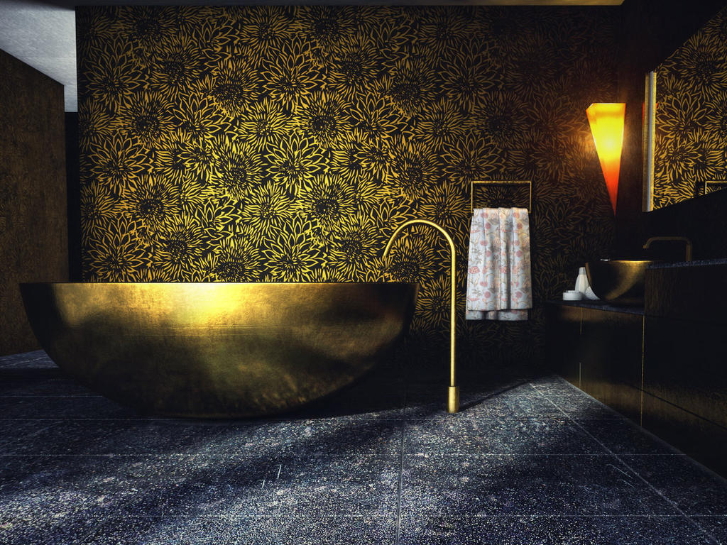 Golden Bathroom By Hesamsaken