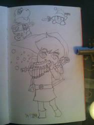 Random drawings Fat Yoshi, Kirby Link, Link by jirjirjir