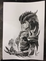 Symmetra - Overwatch (Dragon Skin) Ink drawing