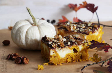 Pumpkin cheesecake with caramel and chocolate