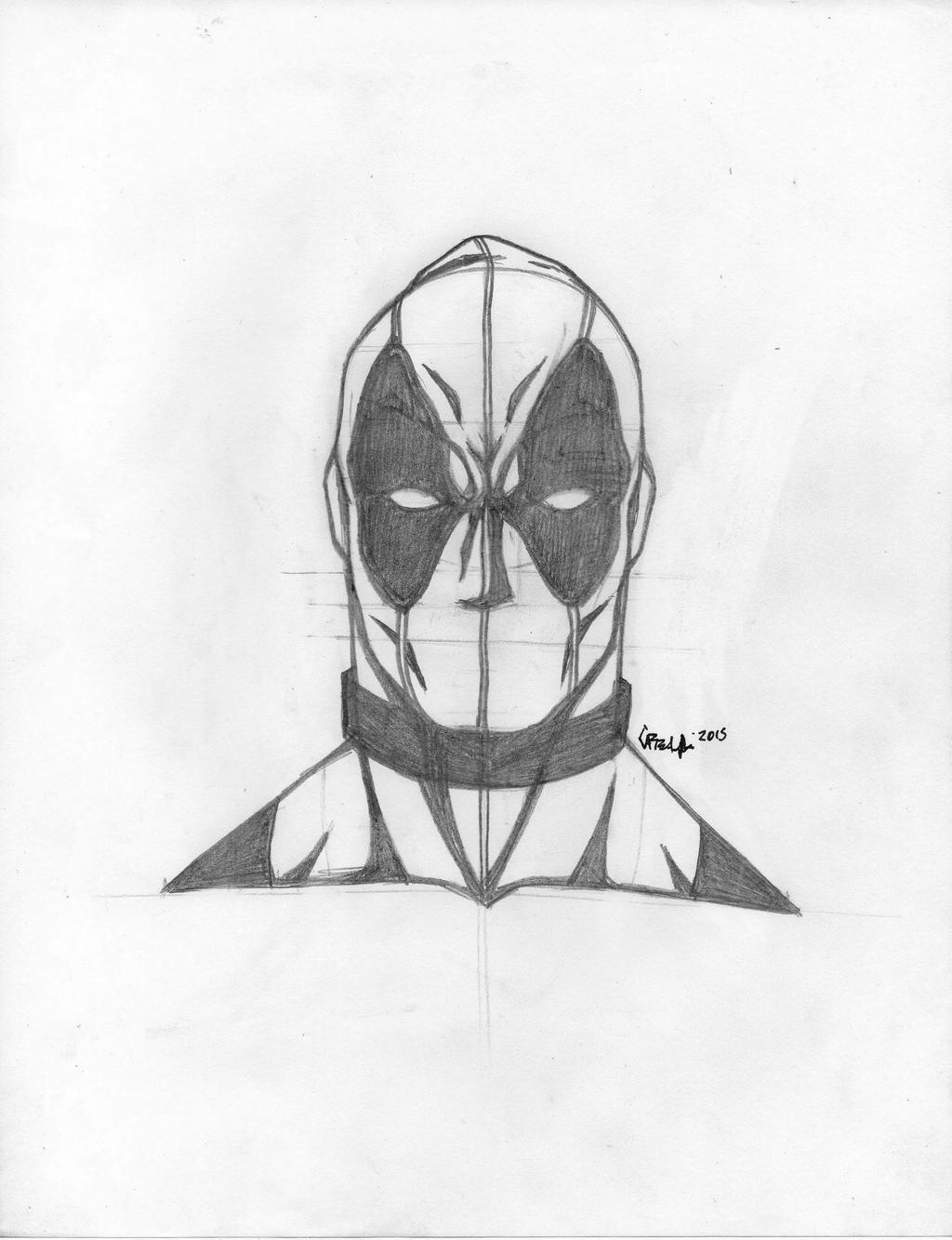 Deadpool Face Sketch By Tefenthescorpion On Deviantart