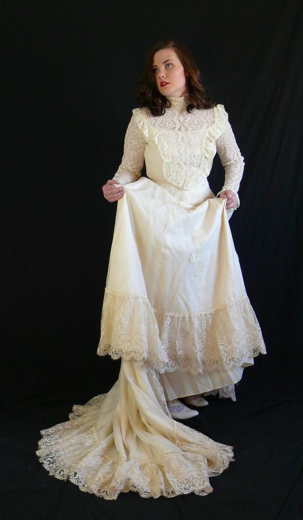 victorian dress with train by magikstock