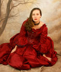red dress sitting