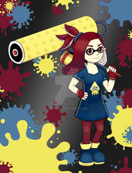 Splatoon girl ink for a contest on twitter