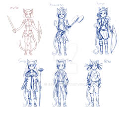 Cute  cat girl design fantasy fighter sketch