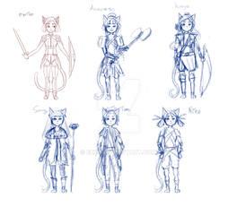 Cute  cat girl design fantasy fighter sketch