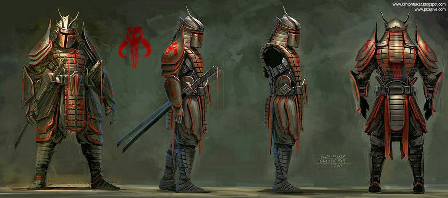 Samurai Boba Fett Profile art for fabrication by cgfelker