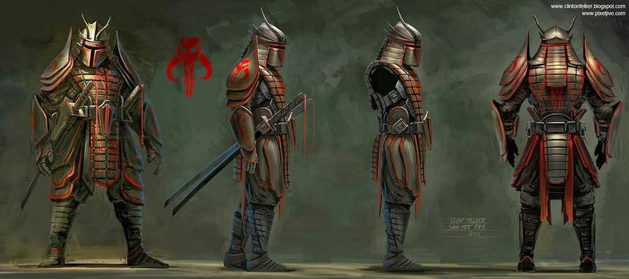 Samurai Boba Fett Profile art for fabrication by cgfelker