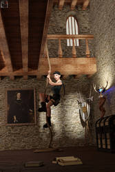 Lara in a castle