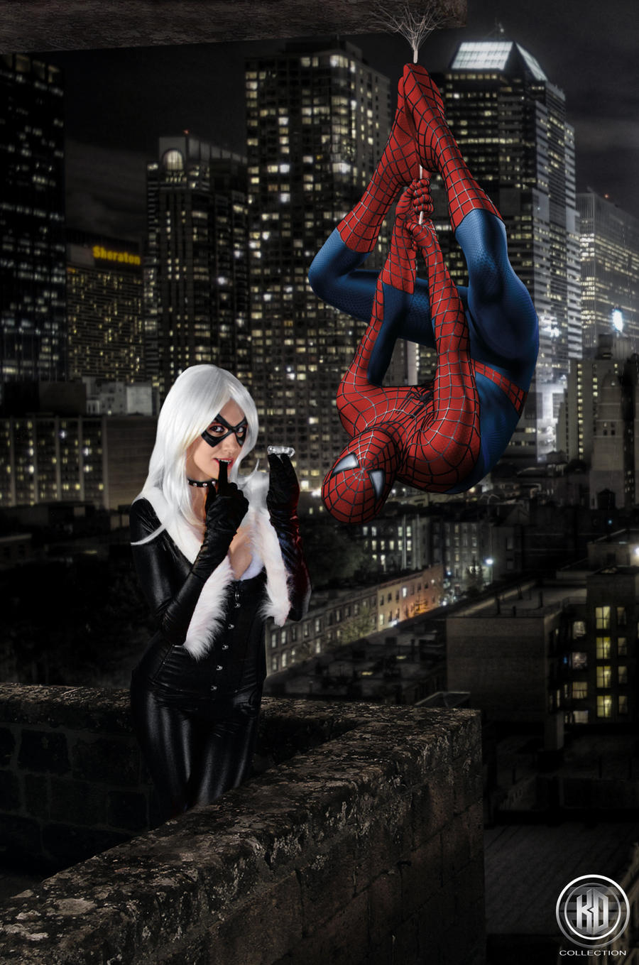 Black Cat and Spiderman by RiyoMitsukiModeling