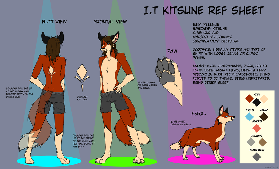 I.T Kitsune Reference Sheet by horsefever
