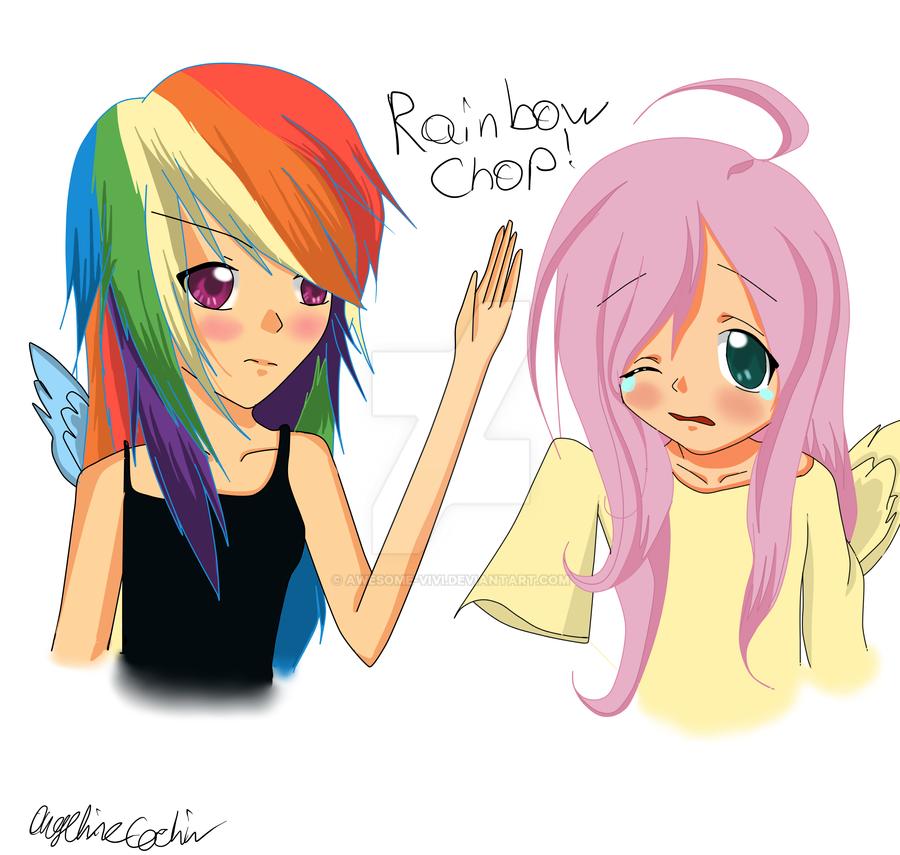 Human Rainbow Dash And Fluttershy Kiss