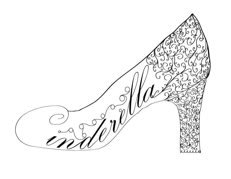 Black And White Cinderellas Shoe