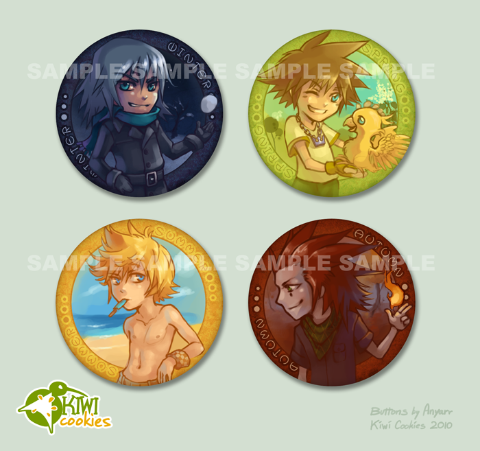 KH: Seasons buttons by Anyarr