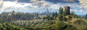 The Wicher 3 panorama tower beyond the Novigrad by Scratcherpen