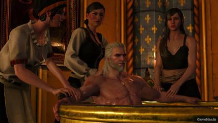 Witcher 3 bath time by Scratcherpen