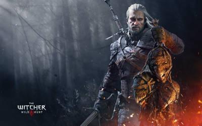 Geralt with trophies by Scratcherpen