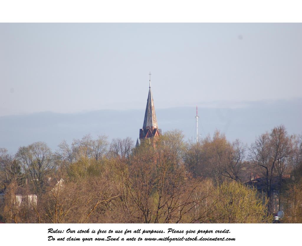 Church behind treeline by Mithgariel-stock