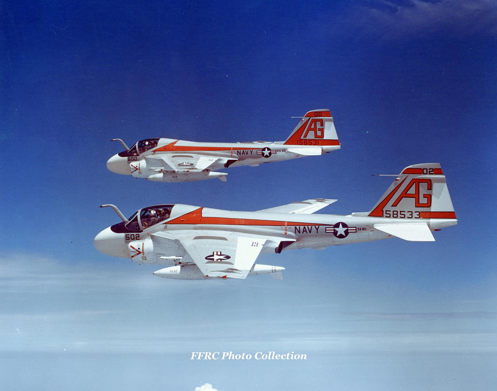 A-6E VA-65 BuNo158531, 158533 in formation, 1972 by fighterman35