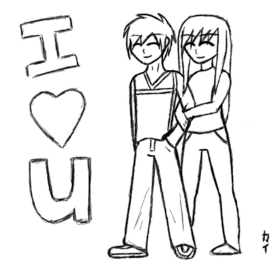 I Love You Drawings: I Love U Anime Drawing By KawaiiKaii On DeviantArt