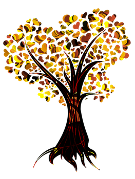 Heart tree in fall colors
