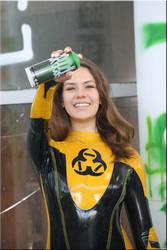 Polina at the toxic wall tattoo by catsuitmodel