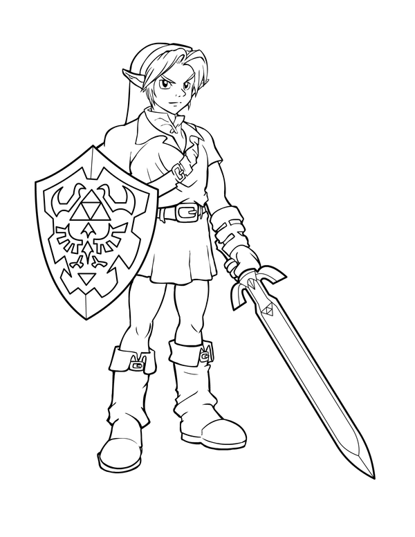 Ink link from zelda by charfade on deviantart - Coloriage link ...