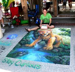 Chalk Art Jungle Lion Cub by charfade