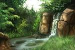 Nov 27th Speed Paint Study Waterfall Rock
