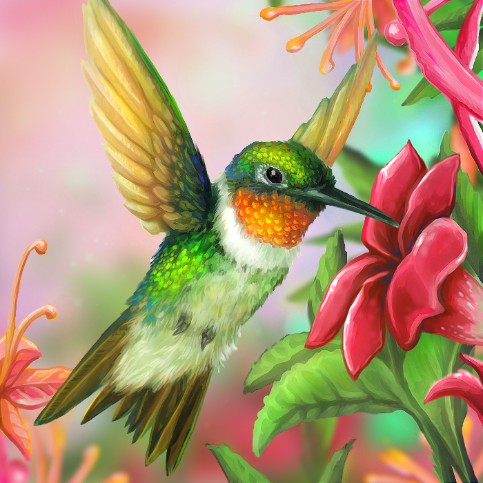 Hummingbird Painting Layer Paint Ruby Throated