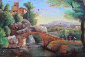 Chalk Art Italian Landscape with Bridge by charfade