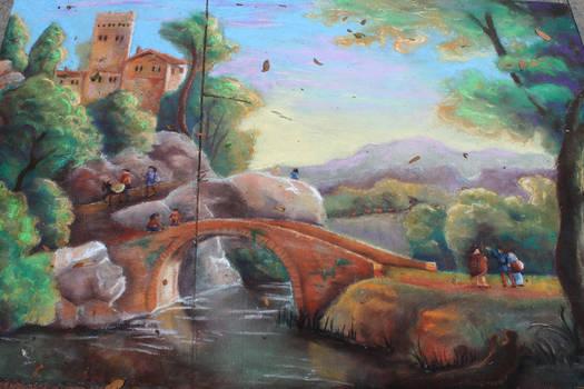 Chalk Art Italian Landscape with Bridge