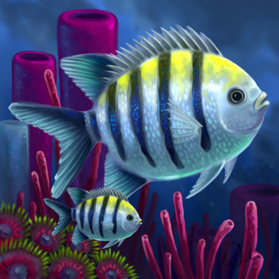 Layer Paint Sargent Major Butterfly Fish By Charfade On