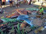 Endangered Iguanas Chalk Art 1