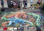Endangered Iguanas Chalk Art 2
