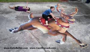 3D Chalked Christmas Reindeer 2