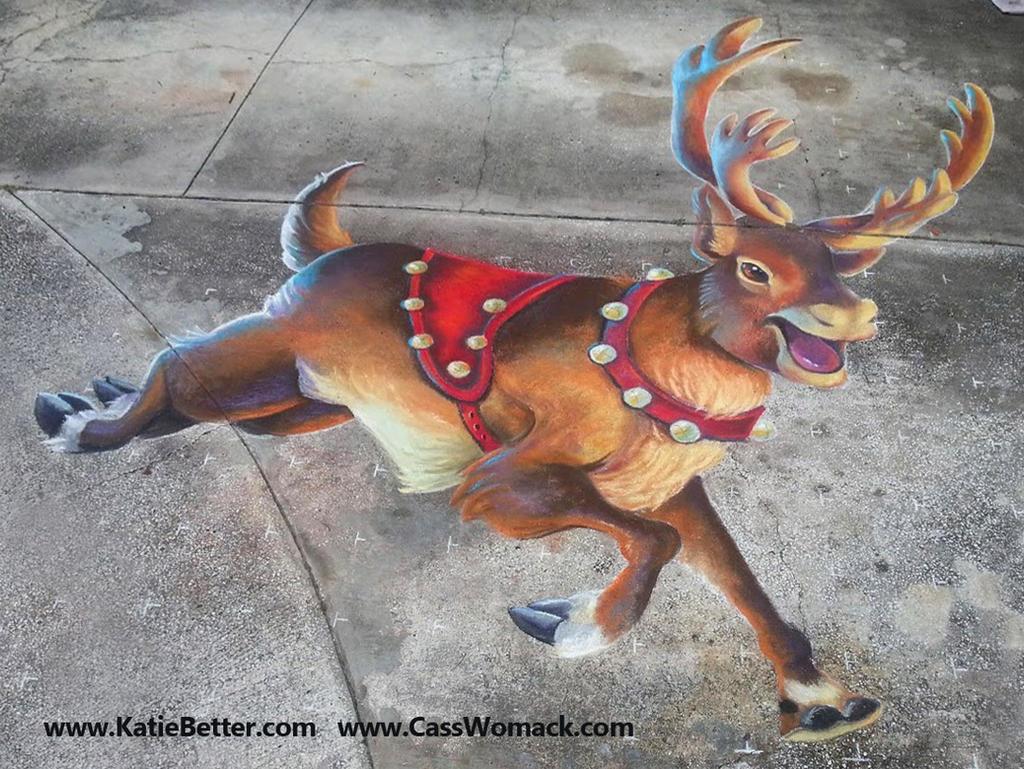 3D Chalked Christmas Reindeer 3