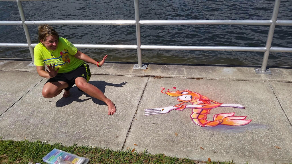 Angry Shrimp Chalk Art