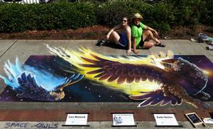 Zeus and Hera Space Owls pose Chalk Art