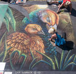 Mother Peahen and Peachick Chalk Art 1