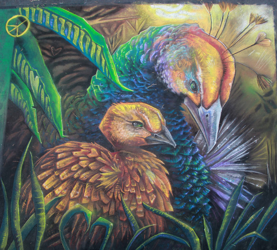 Mother Peahen and Peachick Chalk Final